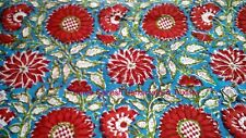 2.5 YARD 100% COTTON PRINT FABRIC INDIAN NEW FLOWER HAND BLOCK PRINT FABRIC S606
