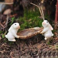Harz Kaninchen Tier Miniatur Fee Garten Moss Micro Landschaft Ornament Deko K7E3