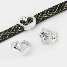 10pcs Antique Silver Open Heart Sliders Spacer Beads Fit 5mm 10mm Flat Leather