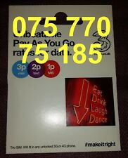 Three 3 Sim Card Standard Micro Nano Good Gold mobile phone number new 75 770 75