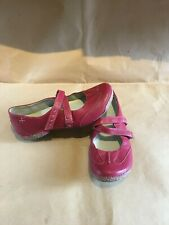 CLARKS Funky Chime Cherry Red Leather Shoes Ladies Size 5.5 D
