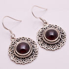925 Solid Sterling Silver Earrings, Natural Garnet Handcrafted Jewelry CE707