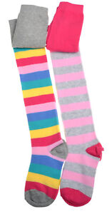 2 pairs of Stripey Girls Tights - Cotton - Variety of sizes
