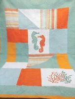 QUILT double sided seahorse / ocean theme C F Enterprises Inc. 87 x 65