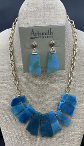 Barse Cerulean Agate Slice Necklace & Earrings- Bronze-NWT