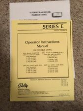 BALLY E-series RAM CLEAR - Instructions - Operator instruction Manual