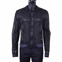DOLCE & GABBANA RUNWAY Net Nappa Leather Jacket with Grids Gray Grey Blue 06619