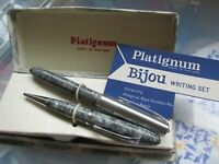 Vintage Platignum Bijou Writing Set Fountain Pen Propelling Pencil Grey Orig Box
