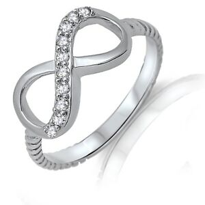 Genuine Silver Clear CZ Infinity Rope Design Ring
