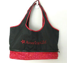 American Girl Tote Carrier Bag Accessory Black Red Double Shoulder Straps EUC