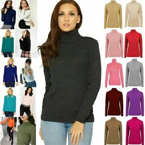 Womens High Roll Polo Neck Top Ladies Knitted Ribbed Jumper Sweater New