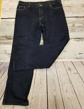 Dickies Flannel Lined Jeans Womens 16 Tall Dark Wash Mom Straight Leg 100 Cotton