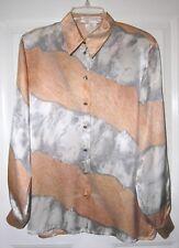 ESCADA Women's Designer Top Shirt Blouse Size 38 US Size 8 100% Silk Peach Gray
