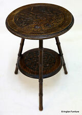 Occasional 2 Tier Round Table with Swan Carving FREE Nationwide Delivery