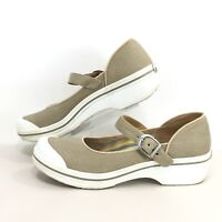 Dansko Vegan Valerie Womens Sz 41 Mary Jane Comfort Canvas Clogs With Buckle