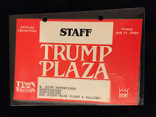 TRUMP PLAZA -TYSON VS. WILLIAMS BOXING-OFFICIAL SECURITY PASS CREDENTIAL-1989