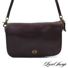 Vintage 1980s Coach Hand Crafted in New York City Burgundy Unlined Turnlock Bag