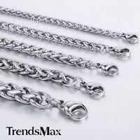 3/4/5/6/8mm trigo trenzado cadena de acero inoxidable collar cadena hombre plata