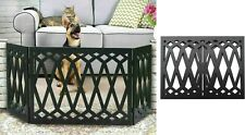 Etna 3-Panel Black Wood Pet Gate Freestanding Diamond Desin Dog Fence 48