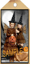 PRIMITIVE 10 HALLOWEEN TWO LITTLE WITCHES HANG TAGS