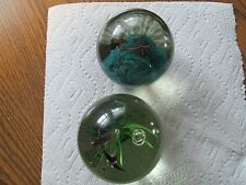 2X=VINTAGE+ RARE ART DECOR GLASS PAPERWEIGHTS+ CONTROLLED BUBBLES-OLDER PEICE'S