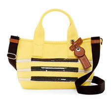 Marc Jacobs Citronella Ecru Striped  Canvas & Leather Tote with Strap Nwt