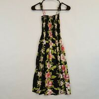 Avanti Hawaiian Print Womens Black Floral Rayon Casual Dress Sz S Top