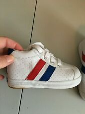 Keds Sz 6 White Canvas Shoes Blue Red Stripe Boy THO6307M Leather Walking Athlet