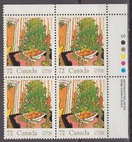 CANADA #1150 72¢ Christmas Mistletoe UR Inscription Block MNH
