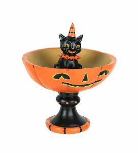 Johanna Parker Vintage Style Black Cat and Pumpkin Halloween Pedestal Trick or