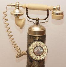 ANTIQUE HEAVY BRASS FLOOR STANDING RETRO PUSH BUTTON TELEPHONE RARE RETRO DECOR