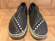 RARE?? VANS Vintage Slio On Woven Native American Brown Leather Sneakers Sz 12
