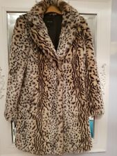 LEOPARD PRINT FAUX FUR COAT BY NEW LOOK *SIZE 8-10* WINTER CHRISTMAS smart shrug