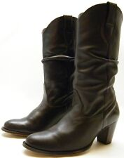 WOMENS NINE WEST MARMALADX BROWN LEATHER SLOUCH COWBOY WESTERN BOOTS SZ 9 M 9M