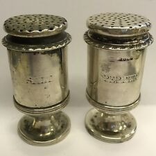 Antique Early - Mid 19th Century Salt And Pepper Shaker Crested Solid Silver 8cm