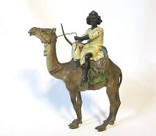 Geschutzt Orientalist Vienna bronze big cold painted arab man on a camel (#922)