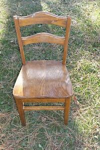 """e. Old Wood Childs School Chair  25 3/4"""" High Back Center  12 7/8"""" W Front Seat"""