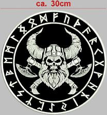 Wikinger kopf Aufnäher Rückenpatch Durchmesser 30 cm Stofffarbe Schwarz