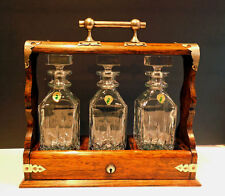 antique OAK TANTALUS w/ 3 WATERFORD Decanters - LIQUOR CABINET W/ KEY