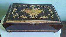 "VTGSWISS MADE REUGE ITALIAN  INLAID WOOD MUSIC/JEWELRY BOX   PLAYS ""EDELWEISS"""