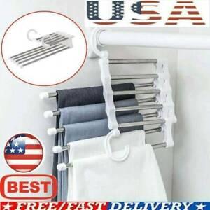 Pants rack shelves 5-in-1 Steel Multi-functional Wardrobe Hanger US