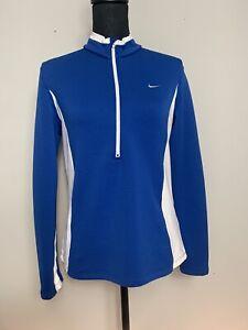 Nike Women's Sphere Element Half Zip Long Sleeve Blue White Size Medium Golf