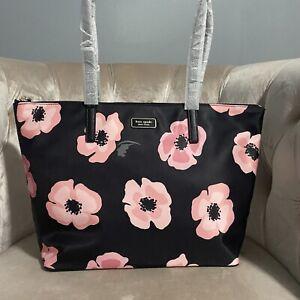 Kate Spade Hayden Pink Poppies Floral Top Zip Tote Nylon Bag Handbag Black New