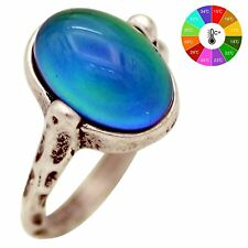 Mojo Hand Polished Antique Sterling Silver Plating Oval Stone Color Change Mood