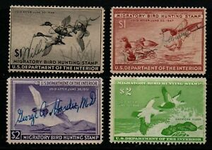 USA 1945-57 selection of 4 Duck Hunting Permits, Scott RW12-25 (#24).