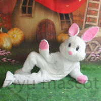 2019 Easter Bunny White Rabbit Mascot Costume Cartoon Cosplay Adults Fancy Dress
