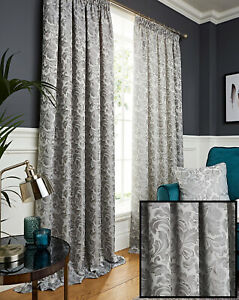 Grey Silver Damask Jacquard Pair Of Tape Top Pencil Pleat Fully Lined Curtains