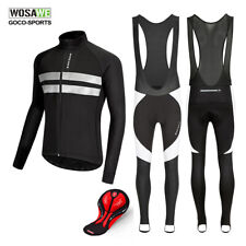Winter Cycling Jersey Pants Set Fleece Thermal MTB Bike Jacket Padded Trousers