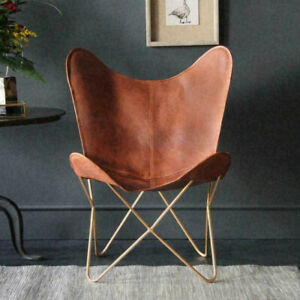 Butterfly Chair Retro Vintage Industrial Leather Tan Seat Gold Base