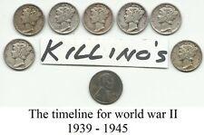 MERCURY DIME WW2 90% SILVER  1939-1945 + bonus 1943 steel penny